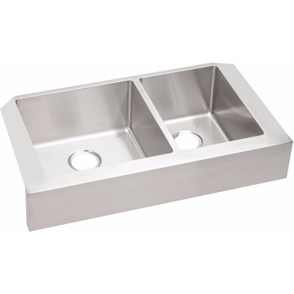 Elkay ECTRUF32179R Crosstown Stainless Steel 60/40 Double Bowl Farmhouse Sink - Chariotwholesale