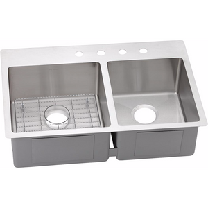 Elkay ECTSRO33229RBG Crosstown Stainless Steel 60/40 Double Bowl Dual Mount Kitchen Sink - SpeedySinks