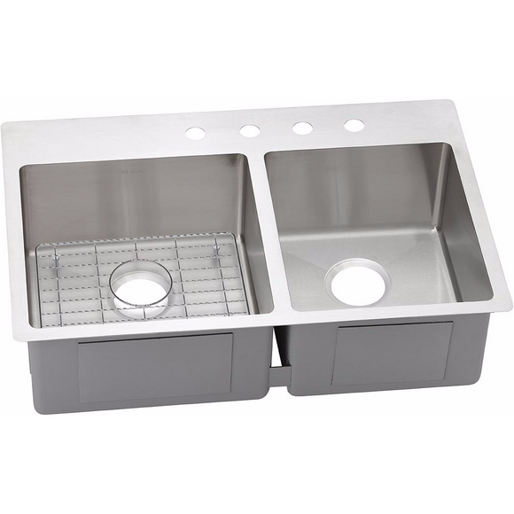 Elkay ECTSRO33229RBG Crosstown Stainless Steel 60/40 Double Bowl Dual Mount Kitchen Sink - Chariotwholesale