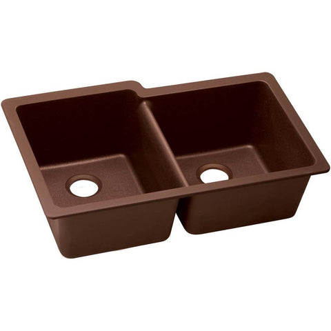 "Elkay Quartz Classic 33"" x 20-11/16"" x 9"", Offset 40/60 Double Bowl Undermount Sink with Aqua Divide, Pecan"