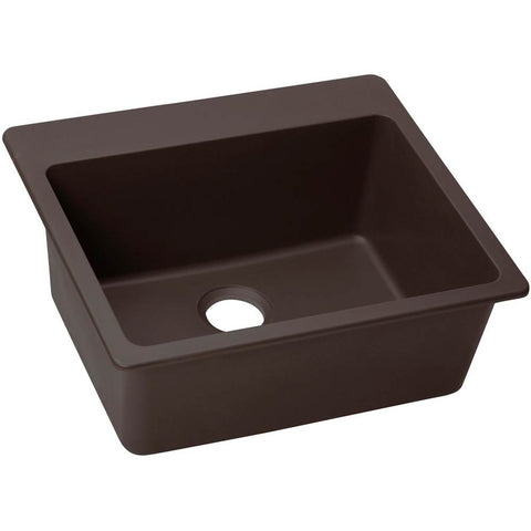 "Elkay Quartz Luxe 25"" x 22"" x 9-1/2"", Single Bowl Top Mount Sink, Chestnut"