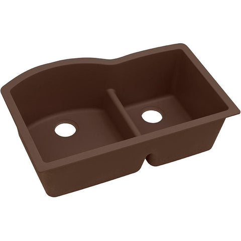 "Elkay Quartz Classic 33"" x 22"" x 10"", Offset 60/40 Double Bowl Undermount Sink with Aqua Divide, Mocha"