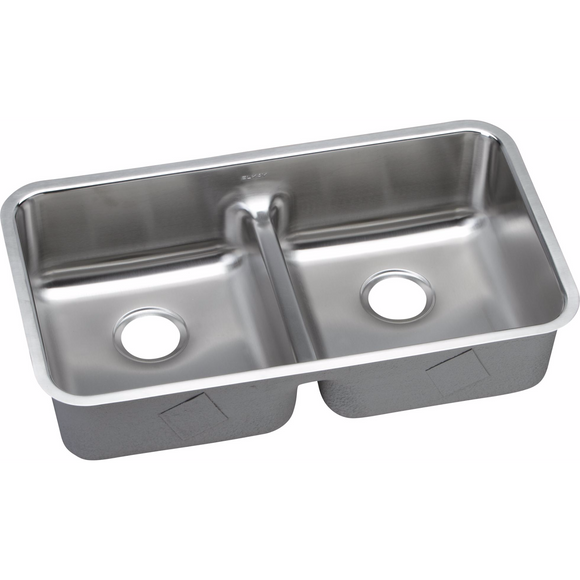Elkay ELUHAQD3218 Lustertone Stainless Steel Equal Double Bowl Undermount Kitchen Sink with Aqua Divide - Chariotwholesale