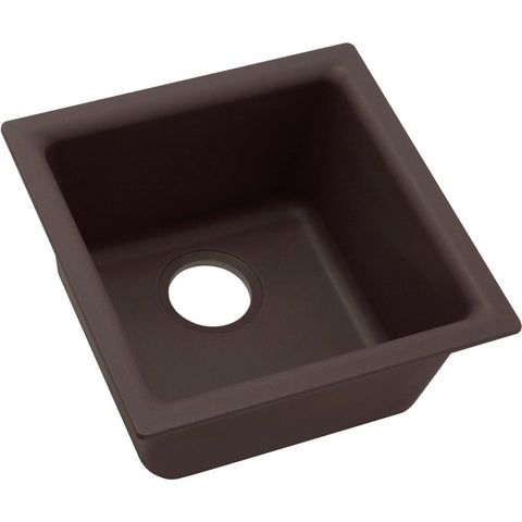 "Elkay Quartz Luxe 15-3/4"" x 15-3/4"" x 7-11/16"", Single Bowl Dual Mount Bar Sink in Chestnut"