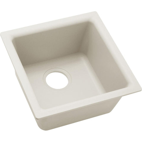 "Elkay Quartz Luxe 15-3/4"" x 15-3/4"" x 7-11/16"", Single Bowl Dual Mount Bar Sink in Ricotta"