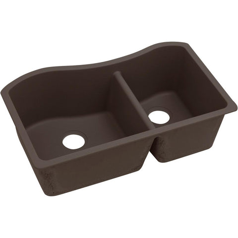 "Elkay Quartz Luxe 32-1/2"" x 20"" x 10"", 60/40 Double Bowl Undermount Sink, Chestnut"