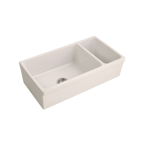 Barclay Lowell Double Bowl Fireclay Farmers Sink in Bisque – 36″ - SpeedySinks