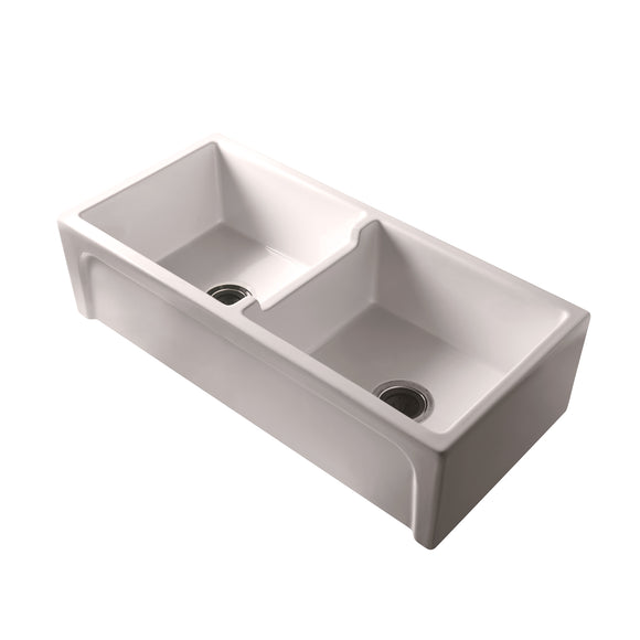 Barclay Myron 39″ Double Bowl Fireclay Farmer Sink in Bisque - SpeedySinks