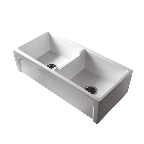 Barclay Myron 39″ Double Bowl Firclay Farmer Sink in White - SpeedySinks