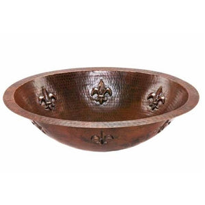 Log Cabin Fleur De Lis Flat Rim Copper Undermount Bathroom Sink