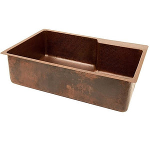 Log Cabin Offset Single Bowl Copper Kitchen Sink - SpeedySinks
