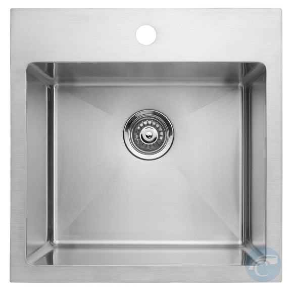 Master Chef Lorient Radial Self Rimming Single Bowl Top Mount Bar/Utility Sink - Chariotwholesale