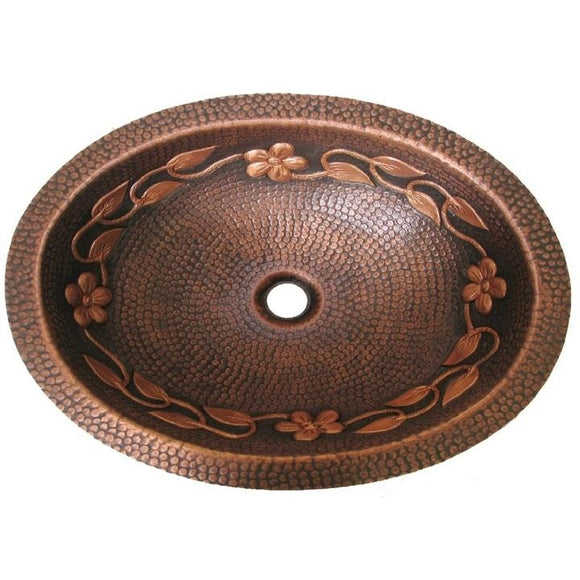 Oriental Vine 2-Tone Design Oval Copper Bathroom Sink - SpeedySinks