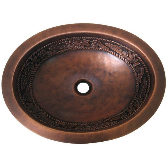Oriental Floral Design Oval Copper Bathroom Sink