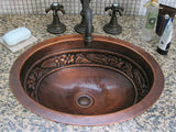 Oriental Floral Design Oval Copper Bathroom Sink - SpeedySinks