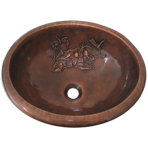 Oriental Nature Design Oval Copper Bathroom Sink