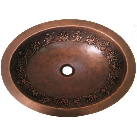 Oriental Wire Crown Design Oval Copper Bathroom Sink - SpeedySinks