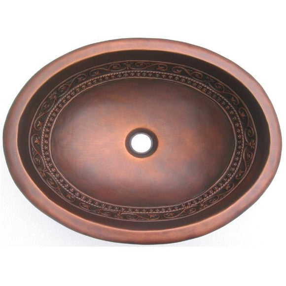 Oriental Sconce Torch Design Oval Copper Bathroom Sink - SpeedySinks