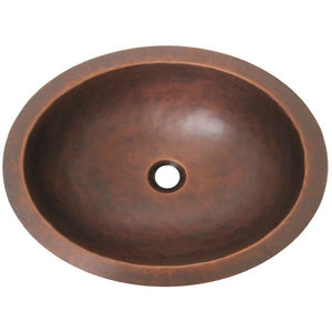 Oriental Plain Smooth Oval Copper Bathroom Sink - SpeedySinks