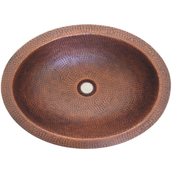 Oriental Hand Hammered Design Oval Copper Bathroom Sink