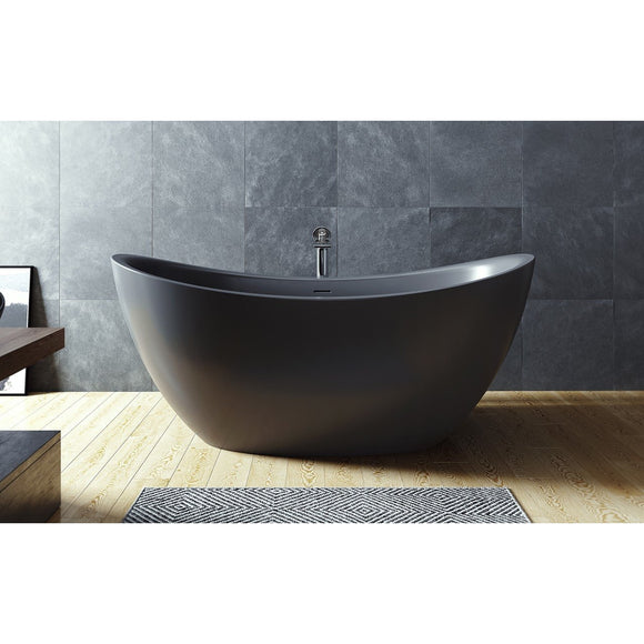 Aquatica Purescape 171 Black Freestanding Solid Surface Bathtub - SpeedySinks