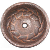 Oriental Molten Ring Design Round Copper Bathroom Sink - SpeedySinks
