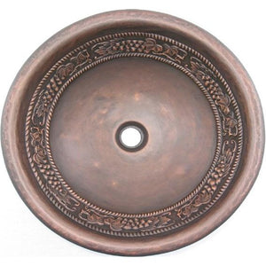Oriental Vino II Design Round Copper Bathroom Sink - SpeedySinks