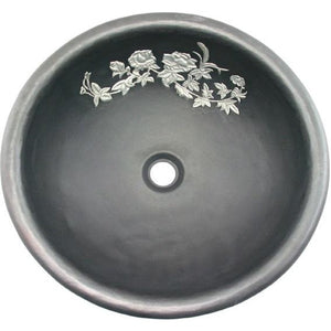 Oriental Black Rose Design Round Copper Bathroom Sink - SpeedySinks
