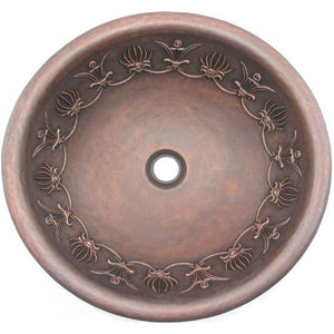 Oriental Wire Crown Design Round Copper Bathroom Sink - SpeedySinks