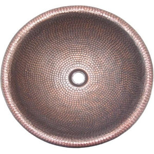 Oriental Hand Hammered Design Round Copper Bathroom Sink - SpeedySinks