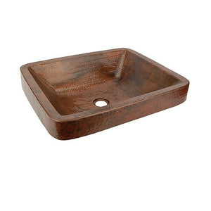 Log Cabin Grotto Rectangle Drop-in Vessel Copper Bathroom Sink - Chariotwholesale
