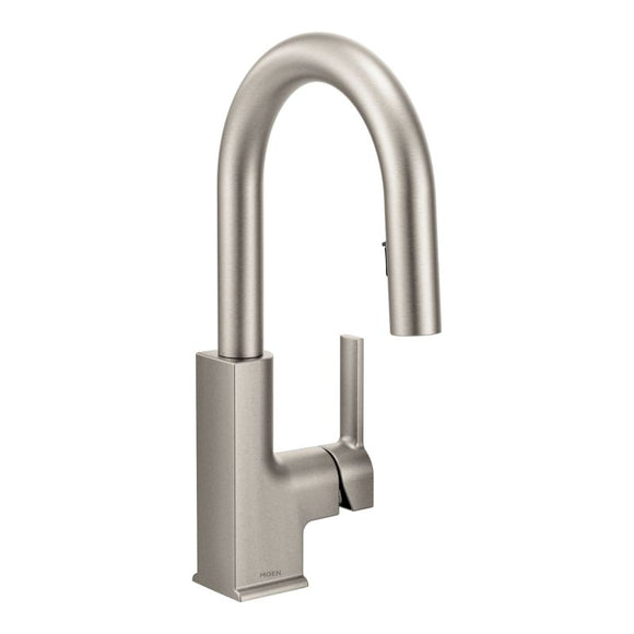 Moen STo One-Handle High Arc Pulldown Bar Faucet in Spot Resist Stainless - Chariotwholesale