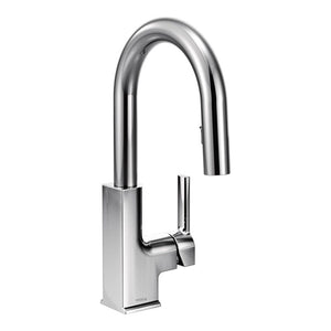 Moen STo One-Handle High Arc Pulldown Bar Faucet in Chrome - SpeedySinks
