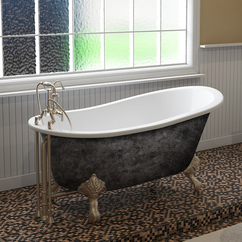 Cambridge Plumbing ST61-SP 61 Inch Cast Iron Slipper Scorched Platinum Clawfoot Tub