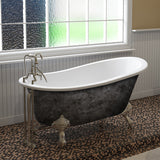Cambridge Plumbing ST67-SP 67 Inch Cast Iron Slipper Scorched Platinum Clawfoot Tub - SpeedySinks