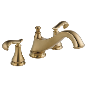 Delta Cassidy Roman Tub Trim - Low Arc Spout in Champagne Bronze - Less Handles