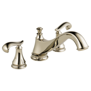 Delta Cassidy Roman Tub Trim - Low Arc Spout in Polished Nickel - Less Handles - SpeedySinks