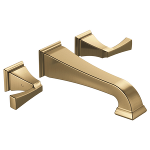 Delta Dryden Two Handle Wall Mount Lavatory Faucet Trim in Champagne Bronze - Chariotwholesale