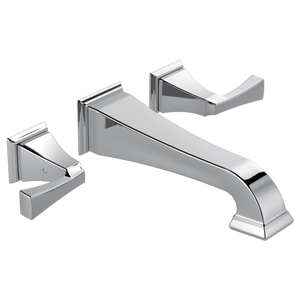 Delta Dryden Two Handle Wall Mount Lavatory Faucet Trim in Chrome