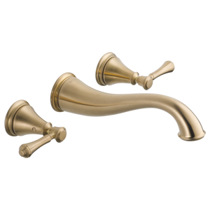 Delta Cassidy Two Handle Wall Mount Lavatory Faucet Trim in Champagne Bronze