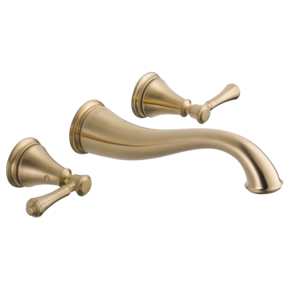 Delta Cassidy Two Handle Wall Mount Lavatory Faucet Trim in Champagne Bronze - Chariotwholesale