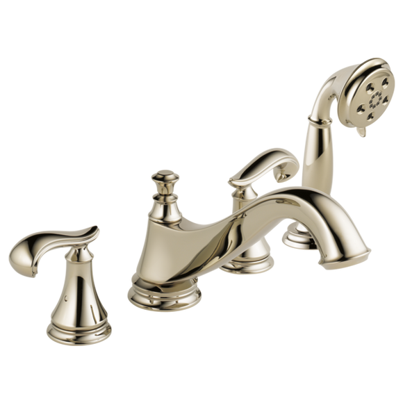 Delta Cassidy Roman Tub Trim with Hand Shower - Low Arc Spout in Polished Nickel - Less Handles