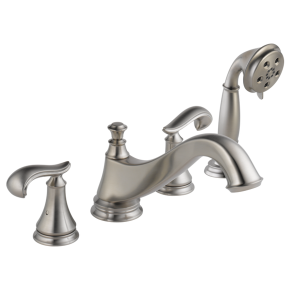 Delta Cassidy Roman Tub Trim with Hand Shower - Low Arc Spout in Stainless - Less Handles