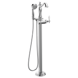 Delta Traditional Floor Mount Free Standing Tub Filler Trim in Chrome - Less Handle - SpeedySinks