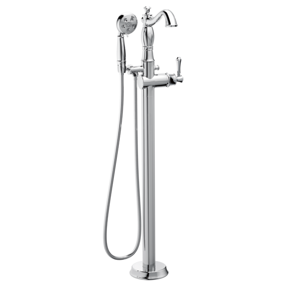 Delta Traditional Floor Mount Free Standing Tub Filler Trim in Chrome - Less Handle - Chariotwholesale