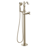Delta Traditional Floor Mount Free Standing Tub Filler Trim in Polished Nickel - Less Handle - Chariotwholesale