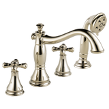 Delta Cassidy Roman Tub with Hand Shower Trim in Polished Nickel - Less Handles - SpeedySinks
