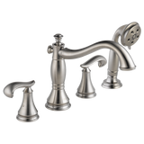 Delta Cassidy Roman Tub with Hand Shower Trim in Stainless - Less Handles - SpeedySinks