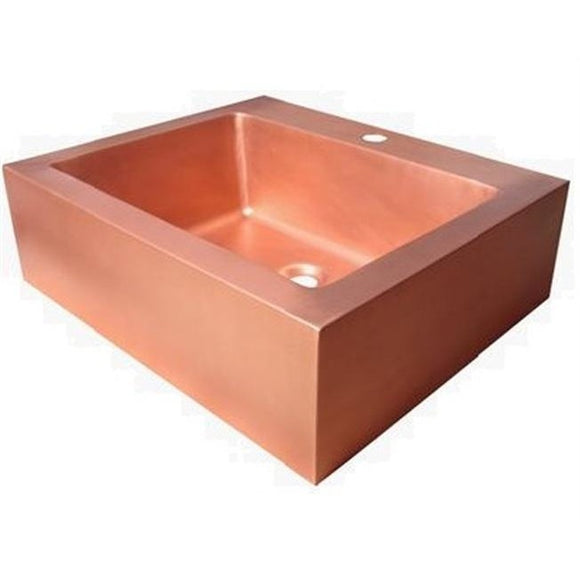 Oriental Rectangle Plain Vessel Copper Bathroom Sink - SpeedySinks
