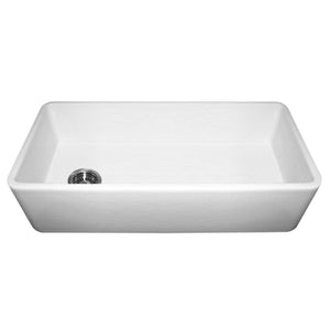 "Whitehaus WH3618 Fireclay Apron Front 36"" Kitchen Sink in White"